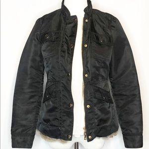 Tory Burch Jackets & Coats - Tory Burch Black Rabbit Fur Lined Jacket 0